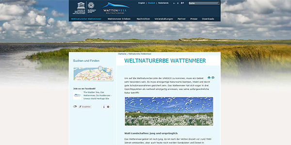 Website des Weltnaturerbe Wattenmeer